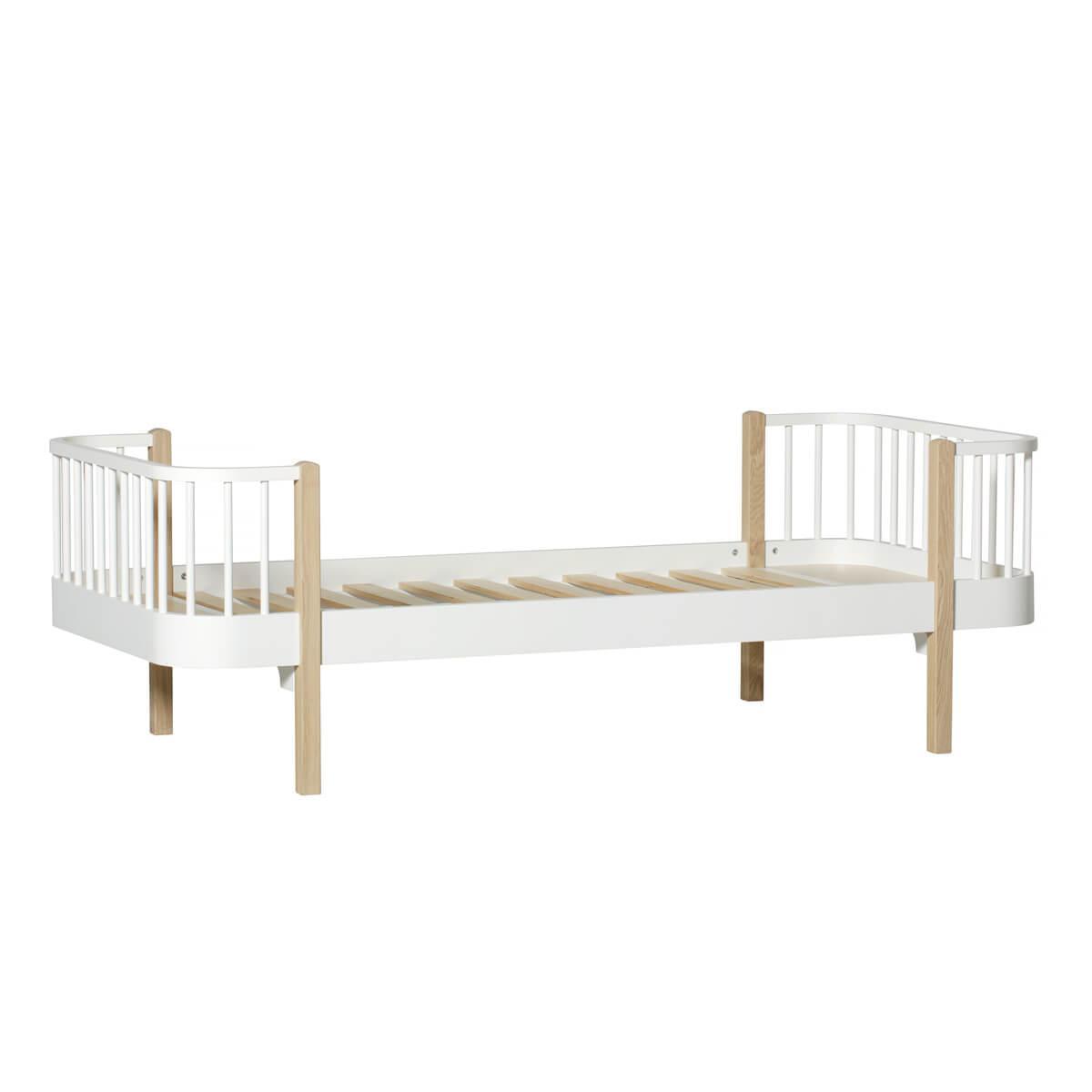 Lit bas évolutif 90x200cm WOOD Oliver Furniture blanc-chêne