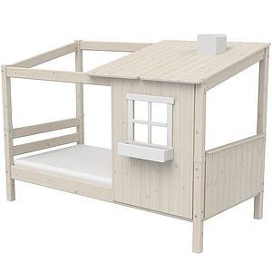 Lit bas évolutif cabane 90x190cm 1/2 PLAY HOUSE CLASSIC Flexa blanc