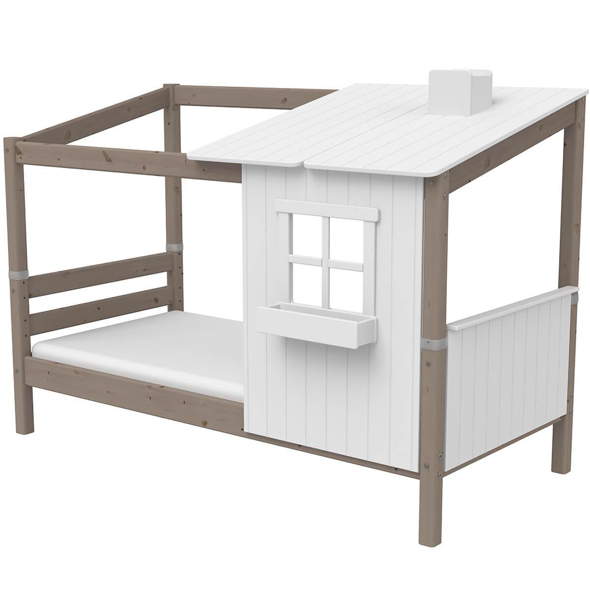 Lit bas évolutif cabane 90x190cm 1/2 PLAY HOUSE CLASSIC Flexa terra-blanc