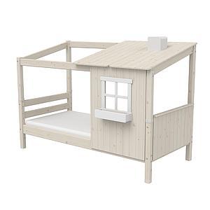 Lit bas évolutif cabane 90x200cm 1/2 PLAY HOUSE CLASSIC Flexa blanc