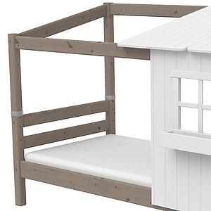 Lit bas évolutif cabane 90x200cm 1/2 PLAY HOUSE CLASSIC Flexa terra-blanc
