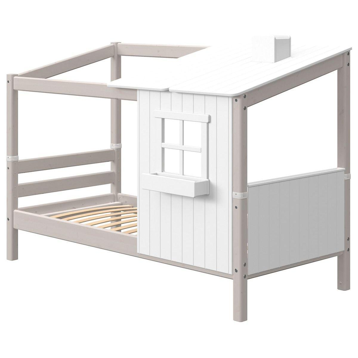 Lit bas évolutif cabane 90x200cm PLAY HOUSE CLASSIC Flexa blanc-grey washed