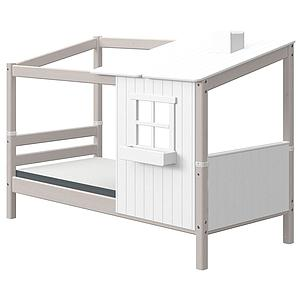 Lit bas évolutif cabane 90x200cm PLAY HOUSE CLASSIC Flexa blanc-grey washed