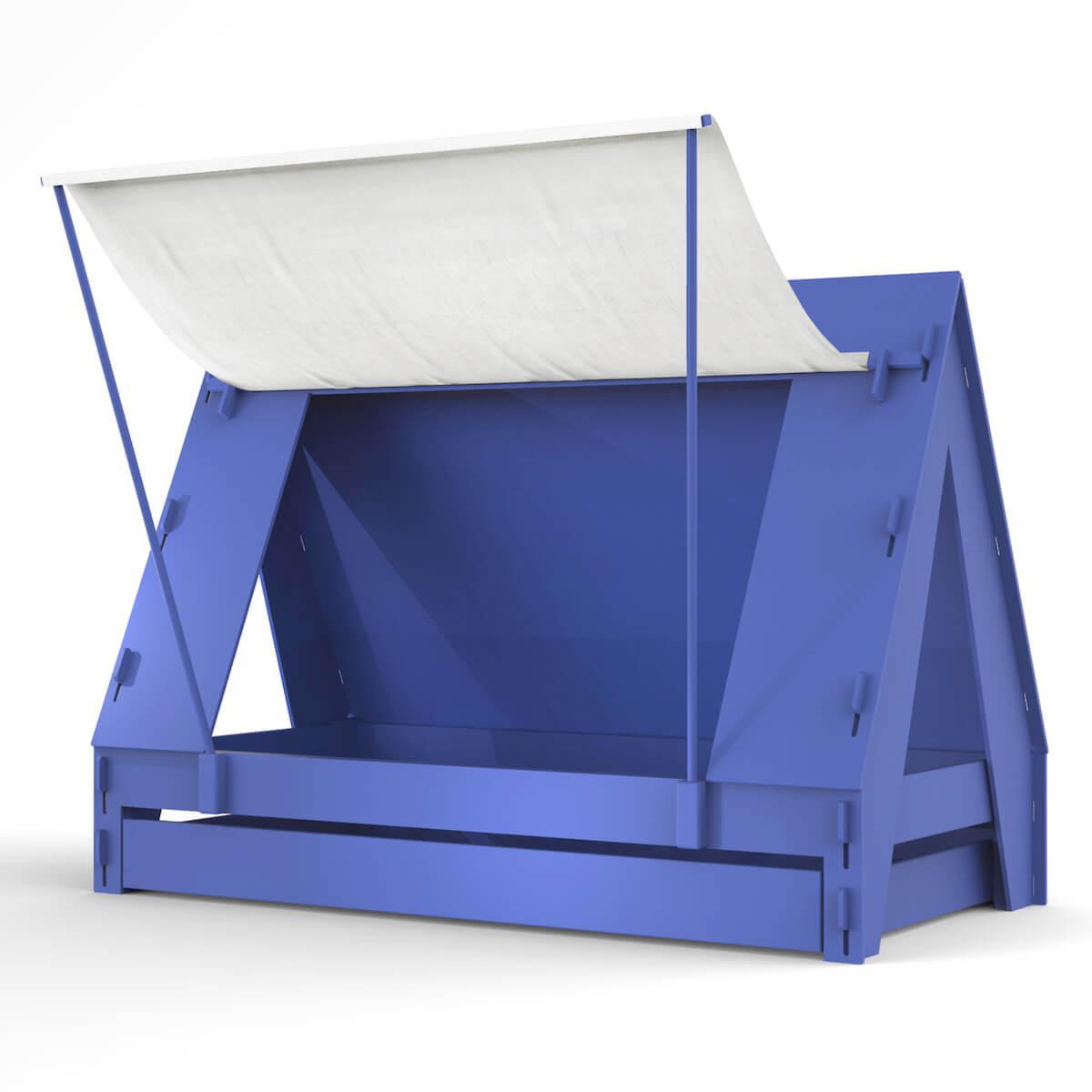 Lit bas-tiroir 90x200cm TENTE Mathy by Bols bleu marseille
