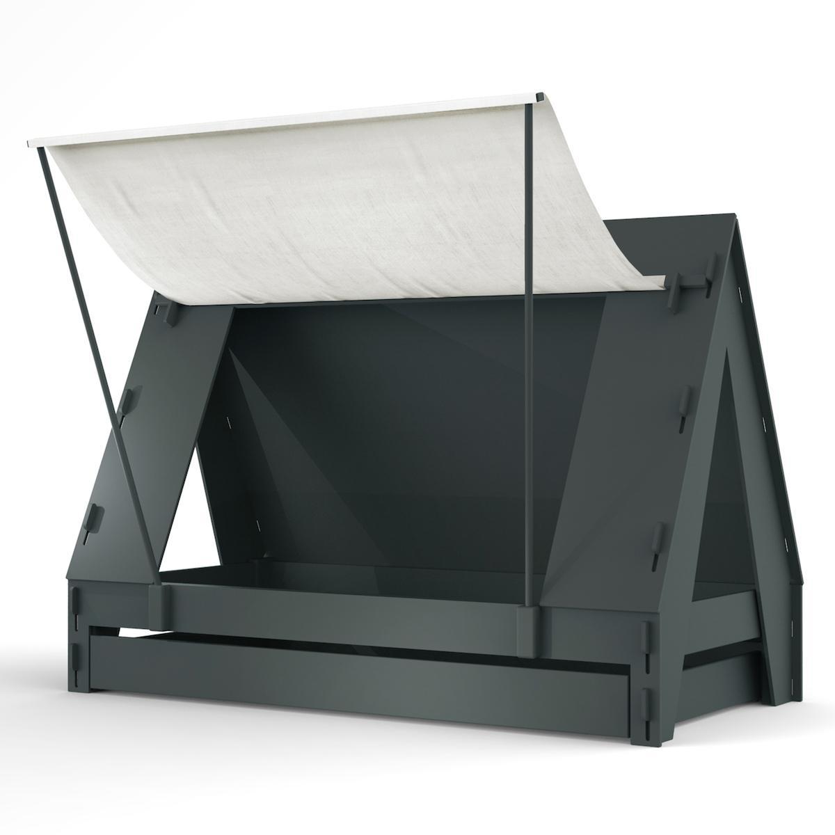 Lit bas-tiroir 90x200cm TENTE Mathy by Bols gris basalte