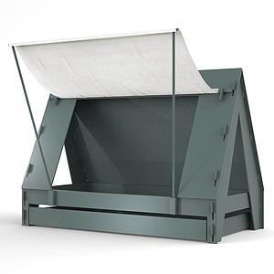 Lit bas-tiroir 90x200cm TENTE Mathy by Bols gris orage