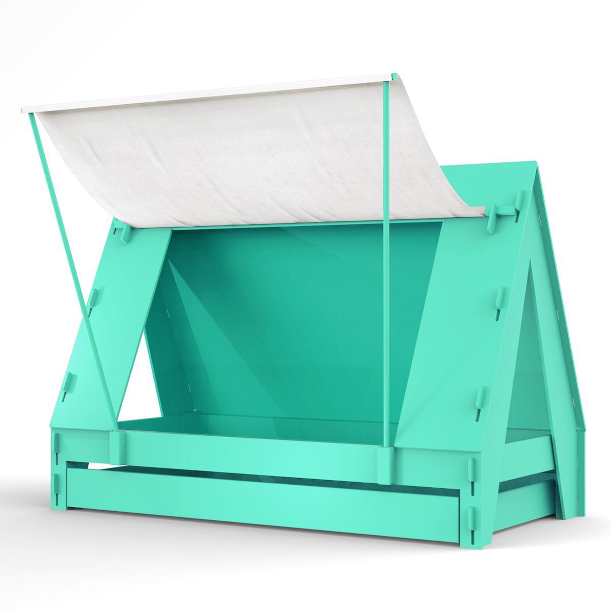 Lit bas-tiroir 90x200cm TENTE Mathy by Bols vert léger