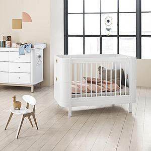 Lit bébé évolutif 68x122cm/162cm MINI+ WOOD Oliver Furniture blanc