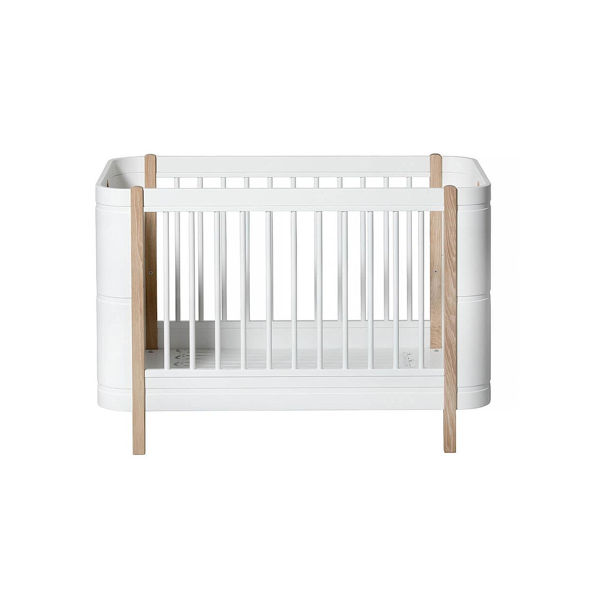 Lit bébé évolutif 68x122cm/162cm WOOD MINI+ Oliver Furniture blanc-chêne