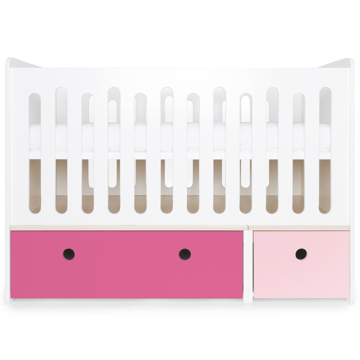 Lit bébé évolutif 70x140cm COLORFLEX Abitare Kids façades sweet pink-pink