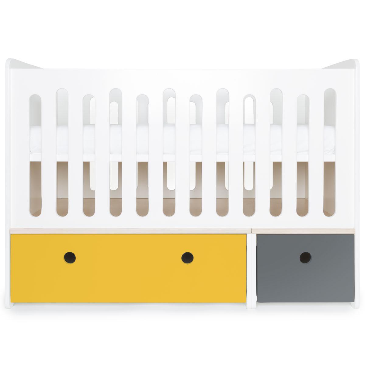 Lit bébé évolutif 70x140cm COLORFLEX nectar yellow-space grey