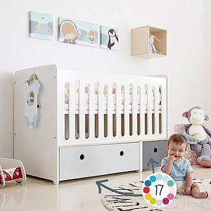 Lit bébé évolutif 70x140cm COLORFLEX pearl grey-white