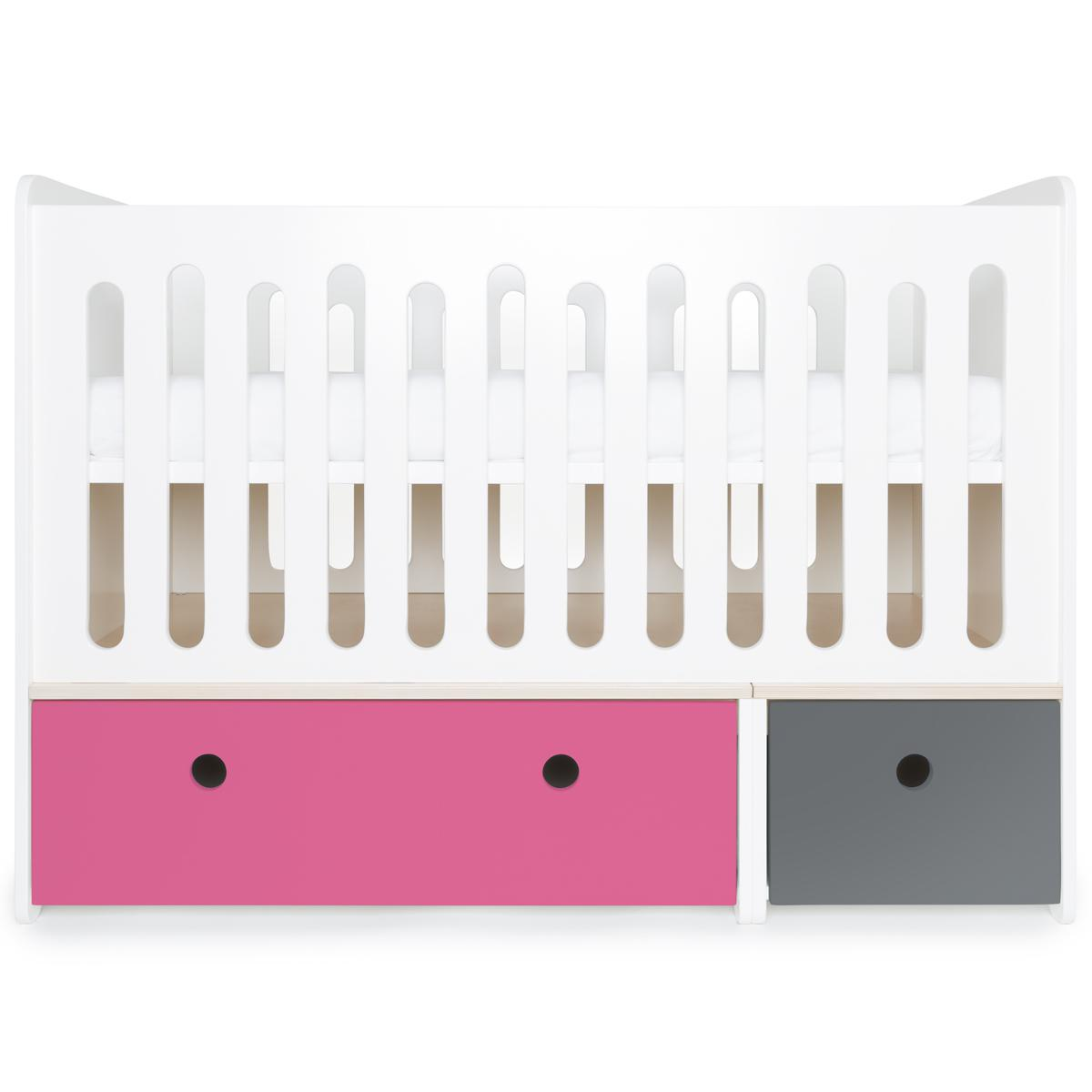 Lit bébé évolutif 70x140cm COLORFLEX pink-space grey