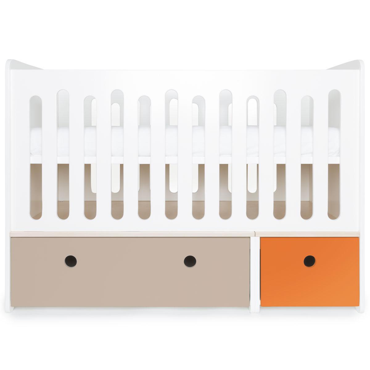 Lit bébé évolutif 70x140cm COLORFLEX warm grey-pure orange
