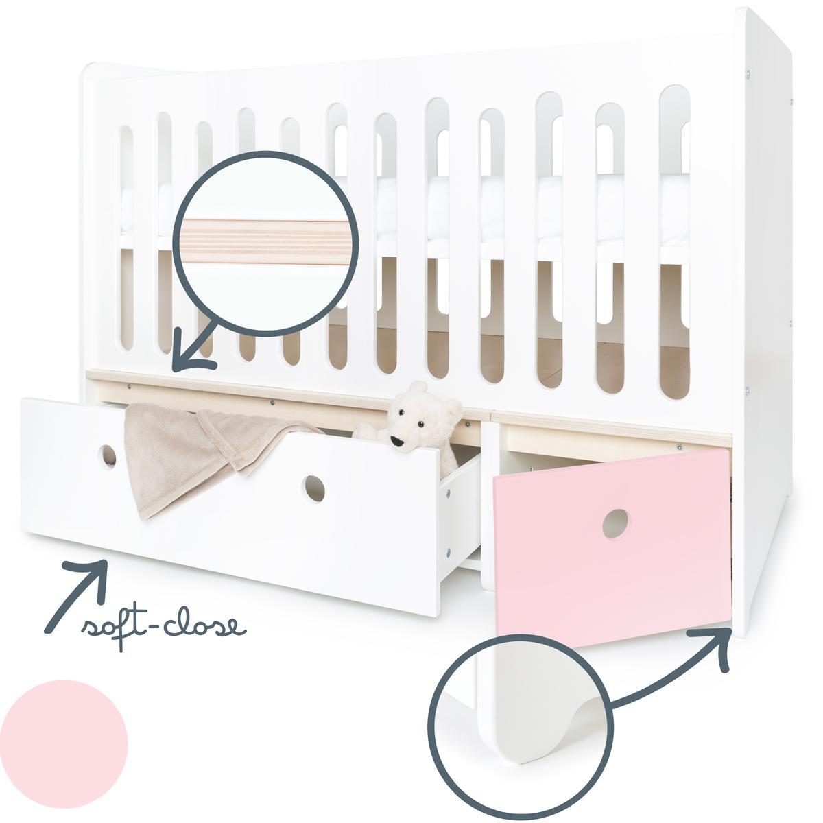 Lit bébé évolutif 70x140cm COLORFLEX white-sweet pink