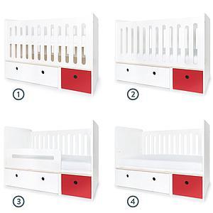 Lit bébé évolutif 70x140cm COLORFLEX white-true red