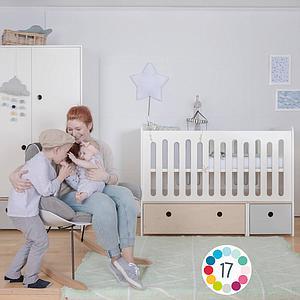Lit bébé évolutif 70x140cm COLORFLEX white-warm grey