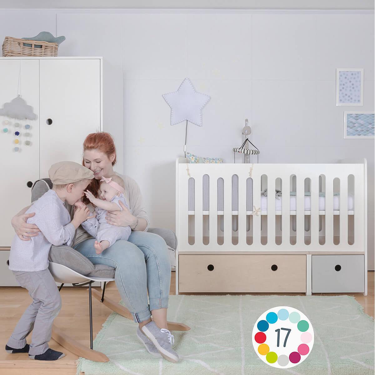 Lit bébé évolutif 70x140cm COLORFLEX white wash-pearl grey