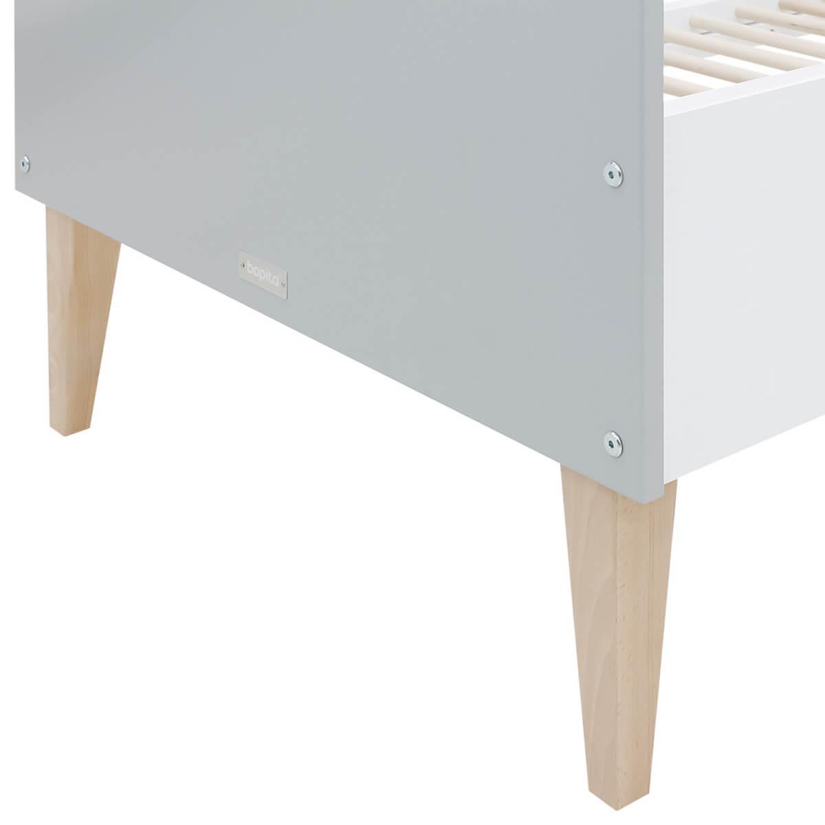 Lit bébé évolutif 70x140cm EMMA Bopita blanc-gris