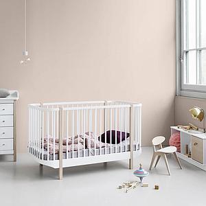 Lit bébé évolutif 70x140cm WOOD Oliver Furniture blanc-chêne