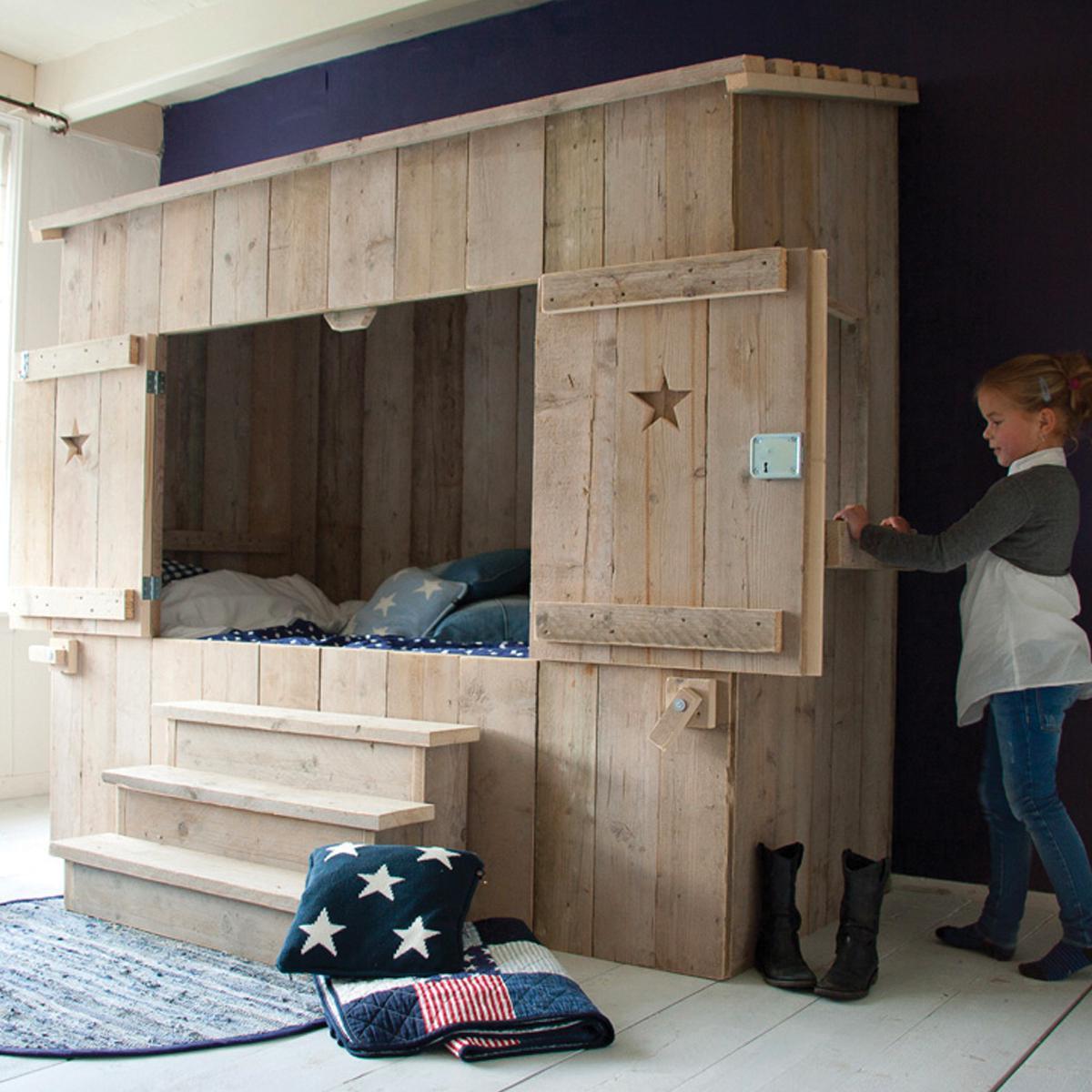 Lit cabane 90x200cm ALPAGE Dutchwood naturel
