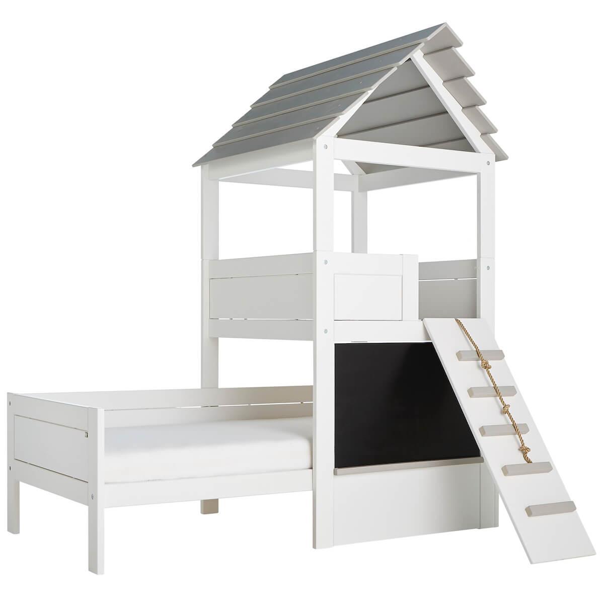 Lit cabane 90x200cm PLAY TOWER Lifetime blanc-grey wash