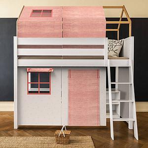 Lit cabane mezzanine KASVA avec textiles Bobble pink