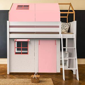 Lit cabane mezzanine KASVA avec textiles Viena pink