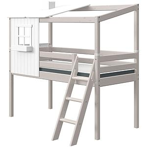 Lit cabane mi hauteur 90x190cm 1-2 PLAY HOUSE CLASSIC Flexa blanc-grey washed