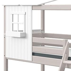 Lit cabane mi hauteur 90x200cm 1-2 PLAY HOUSE CLASSIC Flexa blanc-grey washed