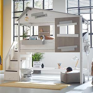 Lit cabane mi hauteur 90x200cm escalier THE HIDEOUT Lifetime white wash