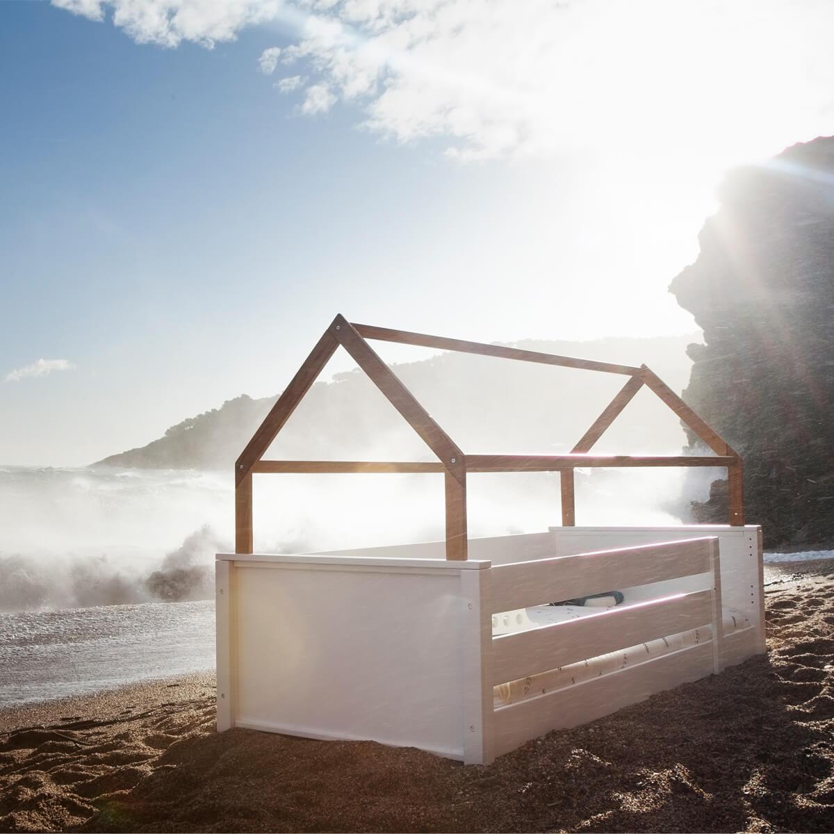 Lit cabane-montessori barrière double KASVA hêtre massif laqué blanc-placage chêne huilé