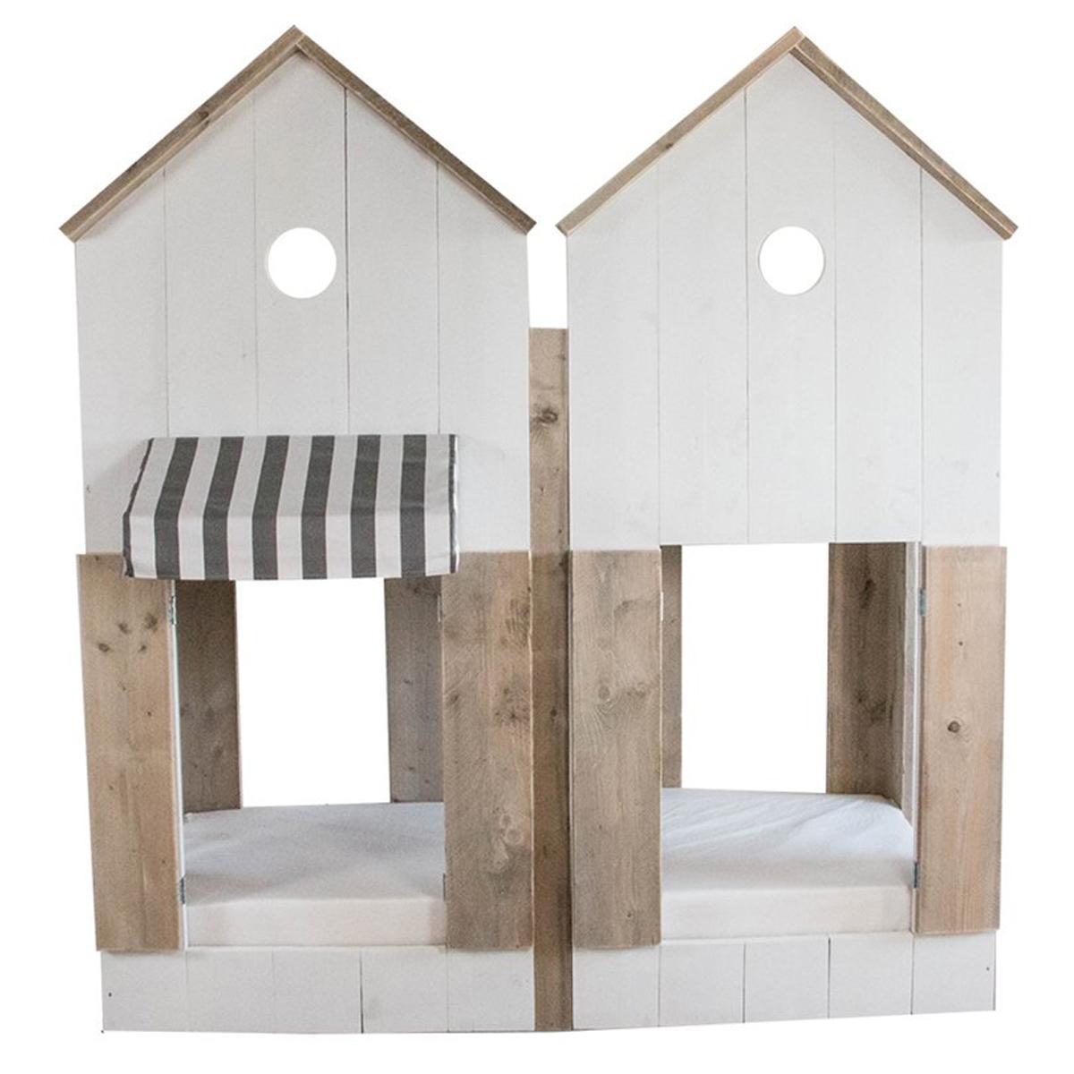 Lit cabane superposés 90x200cm STRANDHUIS Dutchwood naturel