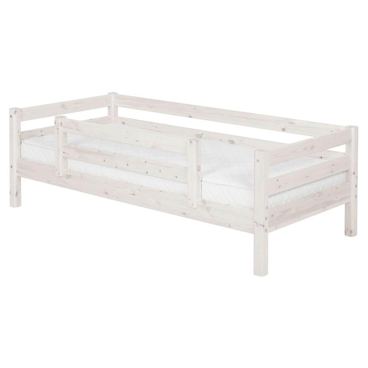 Lit Classic Line blanchi 90x200 cm + barrière de sécurité centrée by Flexa