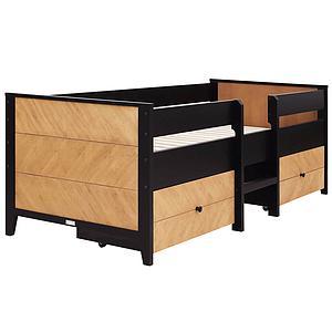 Lit compact 90x200cm 2 tiroirs JOB Bopita vintage honey