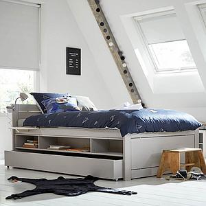 Lit de stockage pieds bas 120x200cm sommier luxe Lifetime blanc