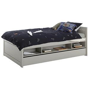 Lit de stockage pieds bas 120x200cm sommier luxe Lifetime gris