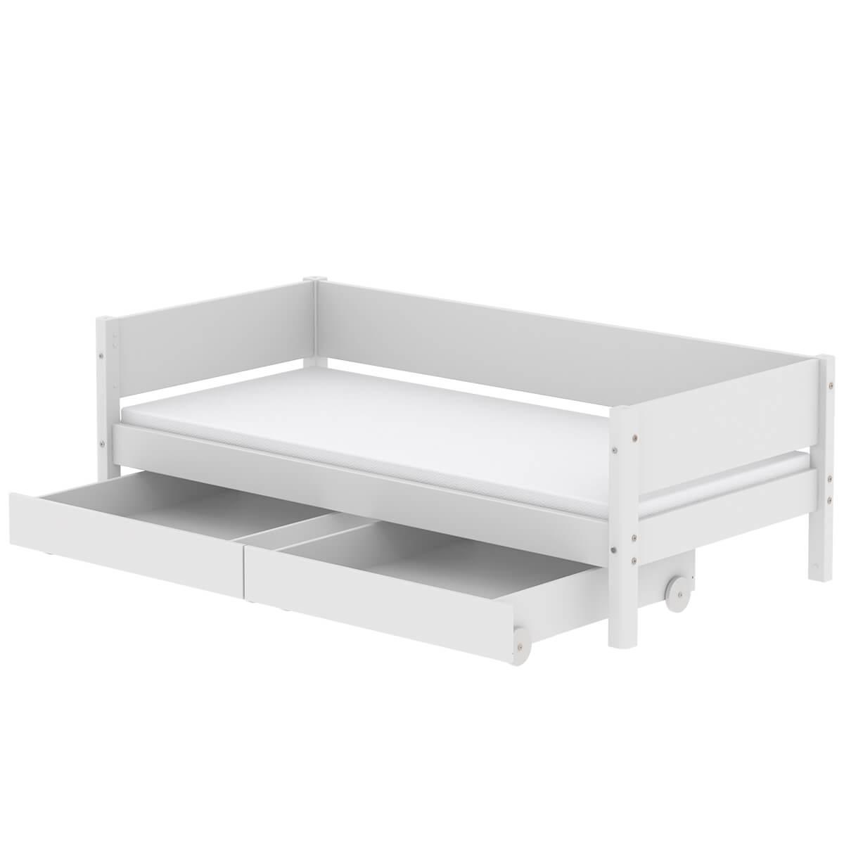 Lit enfant simple 90x190cm 2 tiroirs WHITE Flexa blanc