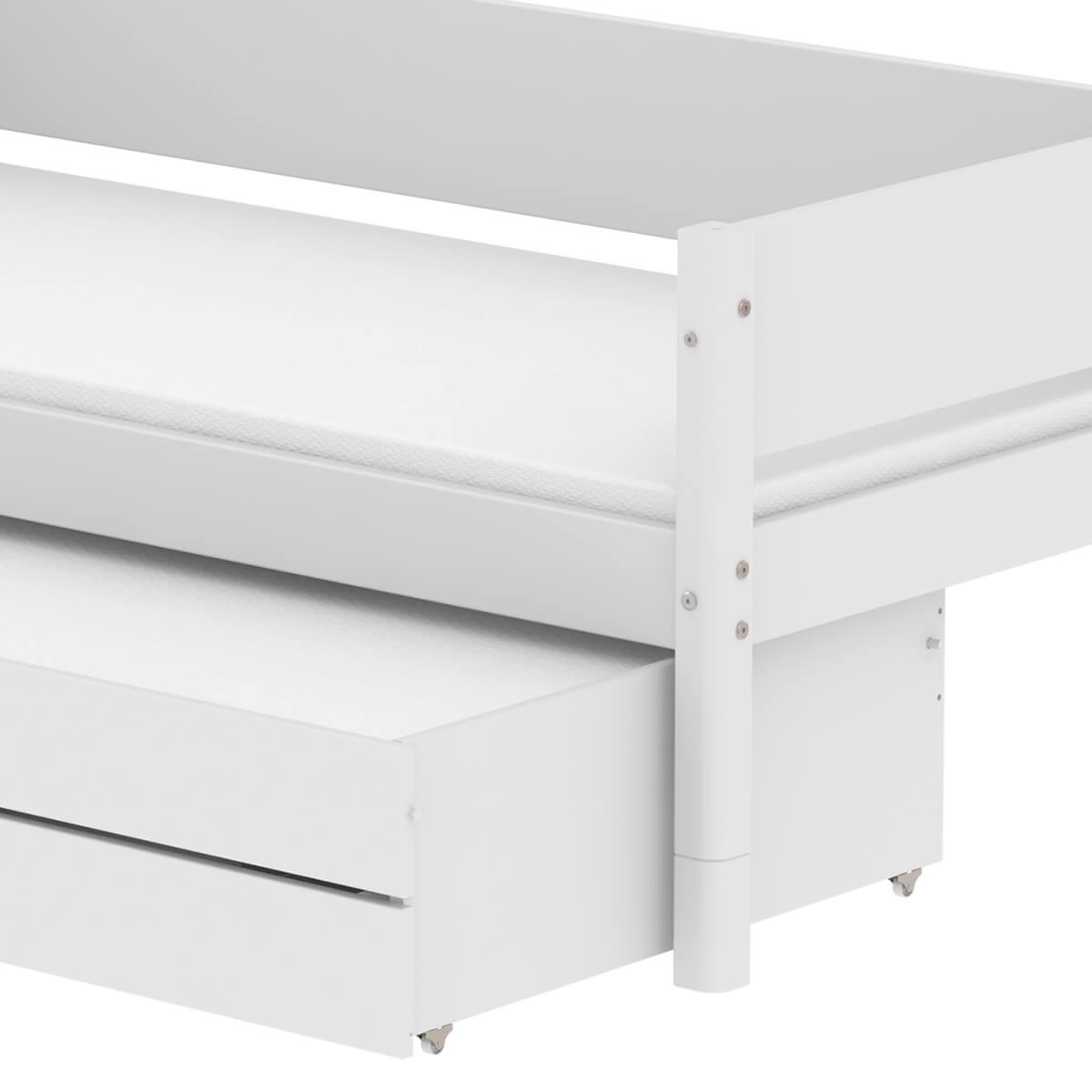 Lit enfant simple 90x190cm lit gigogne-2 tiroirs WHITE Flexa blanc