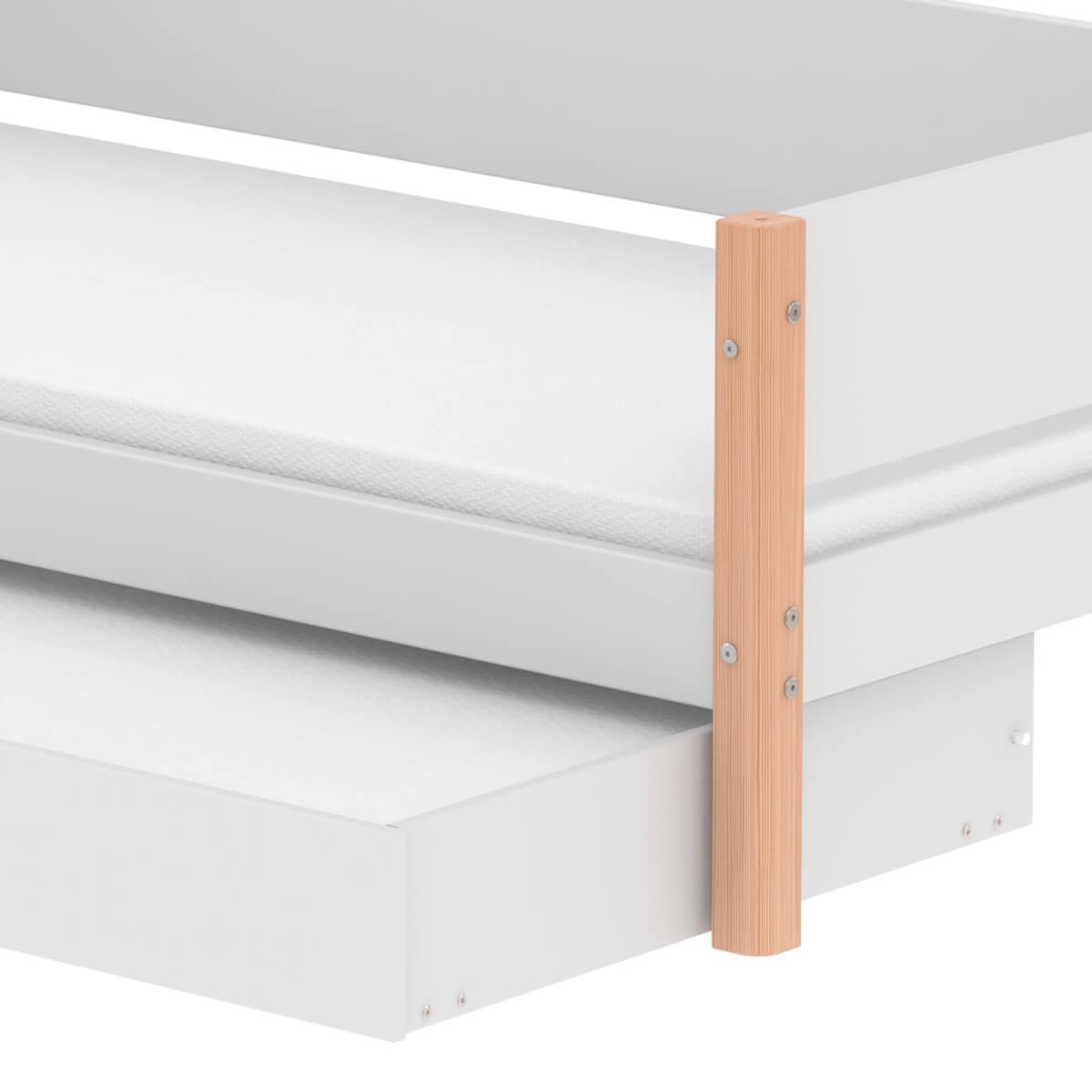 Lit enfant simple 90x190cm lit gigogne WHITE Flexa naturel-blanc