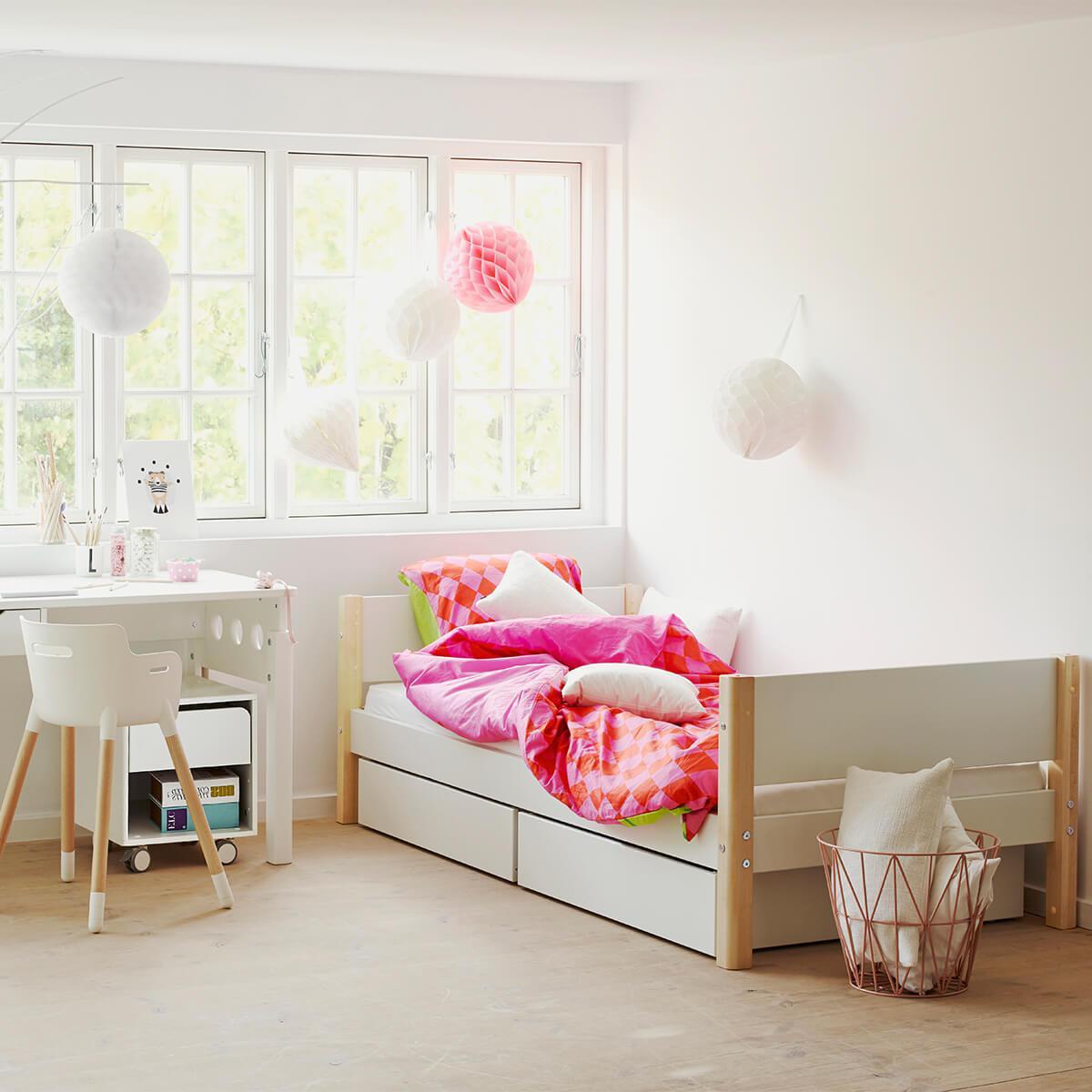 Lit enfant simple 90x200cm 2 tiroirs WHITE Flexa naturel-blanc