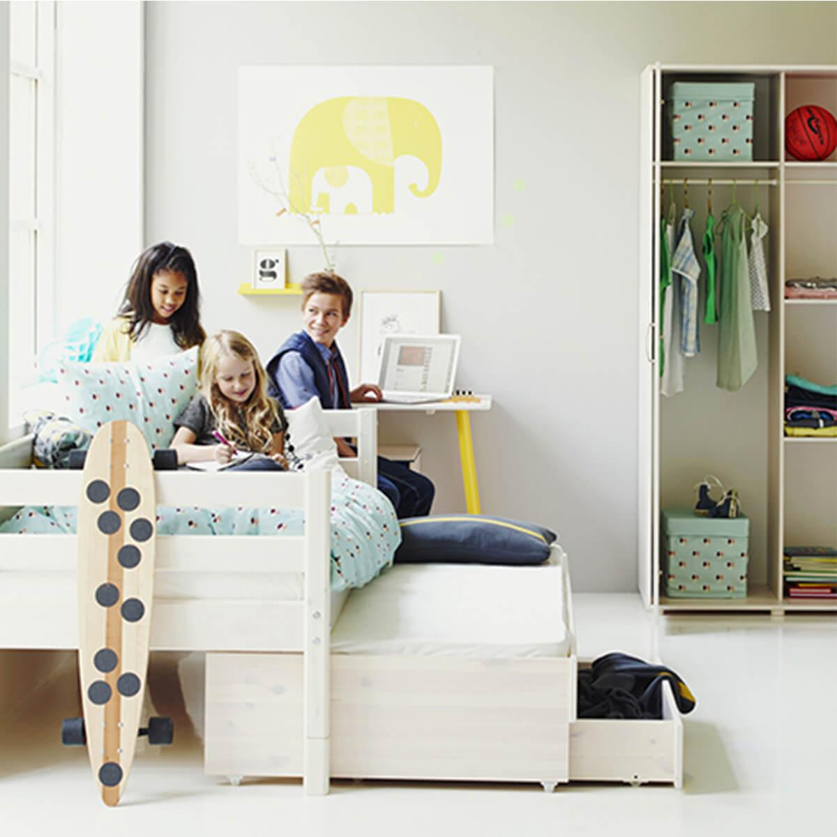 Lit enfant simple 90x200cm lit gigogne-2 tiroirs WHITE Flexa naturel-blanc