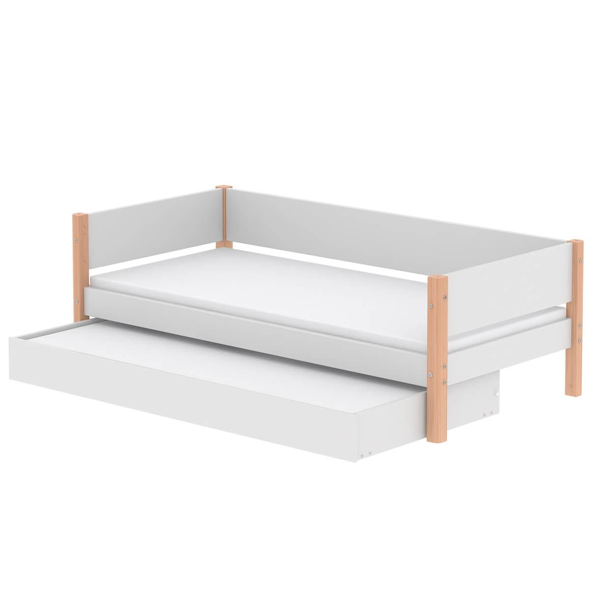 Lit enfant simple 90x200cm lit gigogne WHITE Flexa naturel-blanc