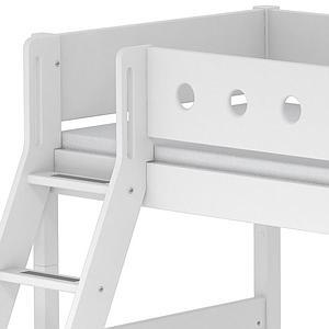Lit enfant surélevé WHITE Flexa 90x200 échelle inclinée pieds blancs barrière blanche