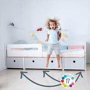 Lit évolutif 90x200cm COLORFLEX Abitare Kids white-white-white wash