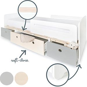 Lit évolutif 90x200cm COLORFLEX pearl grey-white wash-pearl grey