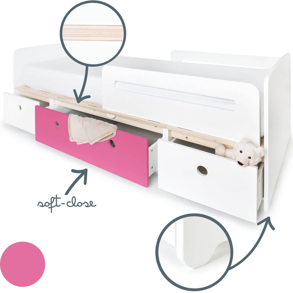 Lit évolutif 90x200cm COLORFLEX white-pink-white