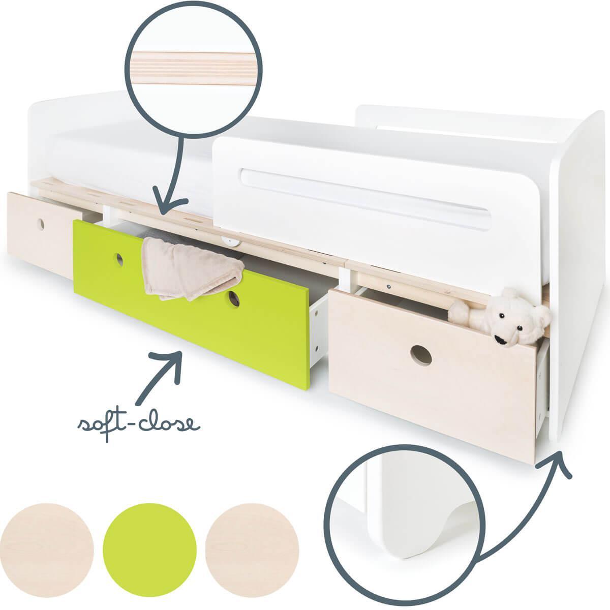 Lit évolutif 90x200cm COLORFLEX white wash-lime-white wash
