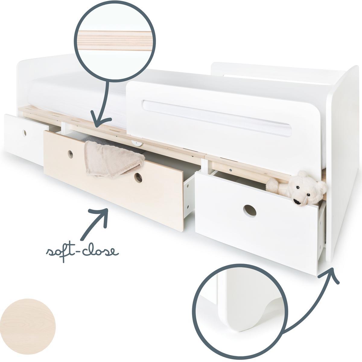 Lit évolutif 90x200cm COLORFLEX white-white wash-white