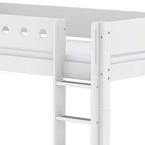 Lit évolutif enfant superposé 90x190 cm - échelle droite WHITE Flexa blanc